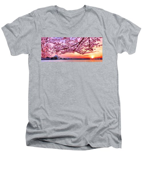 Glorious Sunset Over Cherry Tree At The Jefferson Memorial  Men's V-Neck T-Shirt