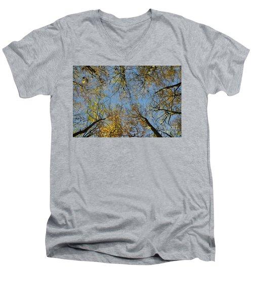 Men's V-Neck T-Shirt featuring the photograph Glorious Tree Tops by Kennerth and Birgitta Kullman