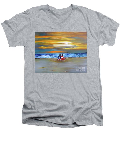 Men's V-Neck T-Shirt featuring the painting Glory by Barbara Hayes