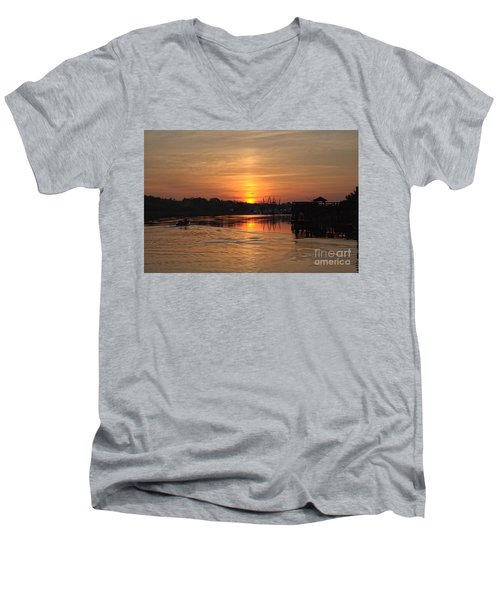 Glory Of The Morning On The Water Men's V-Neck T-Shirt