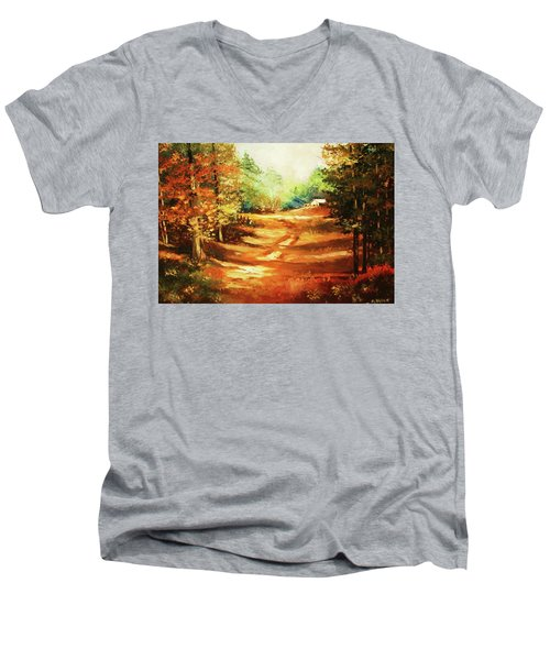 Glory Road In Autumn Men's V-Neck T-Shirt by Al Brown