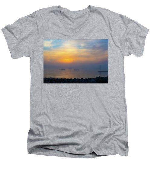 Gloucester Harbor Foggy Sunset Men's V-Neck T-Shirt