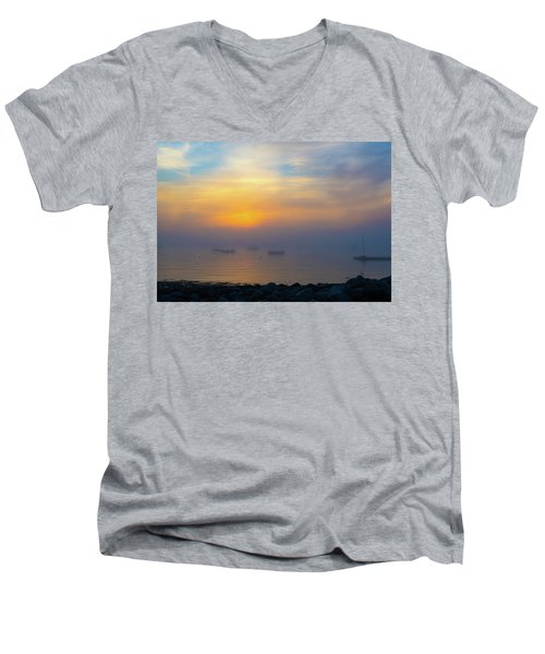 Gloucester Harbor Foggy Sunset Men's V-Neck T-Shirt