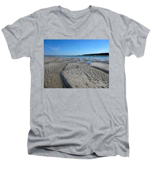 Gloucester Lighthouse Men's V-Neck T-Shirt by Barbara Bardzik