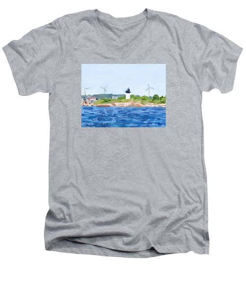Gloucester Skyline From Harbor With Windmills And Ten Pound Island Lighthouse Men's V-Neck T-Shirt by Melissa Abbott
