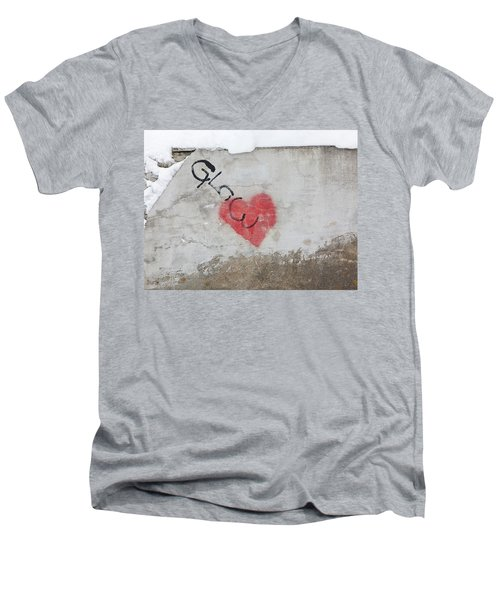 Men's V-Neck T-Shirt featuring the photograph Glow Heart by Art Block Collections
