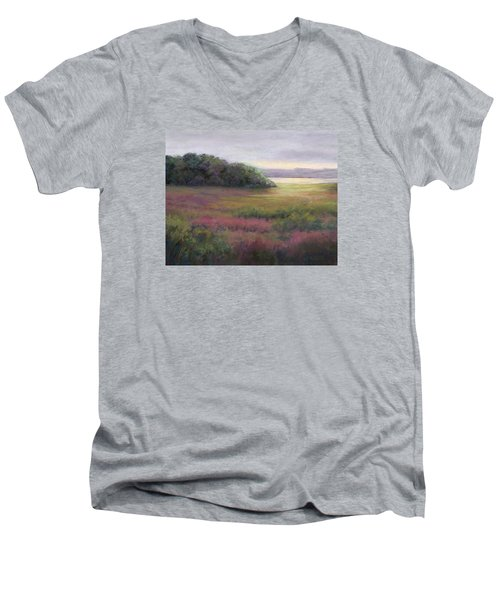 Men's V-Neck T-Shirt featuring the painting Glow On Gilsland Farm by Vikki Bouffard