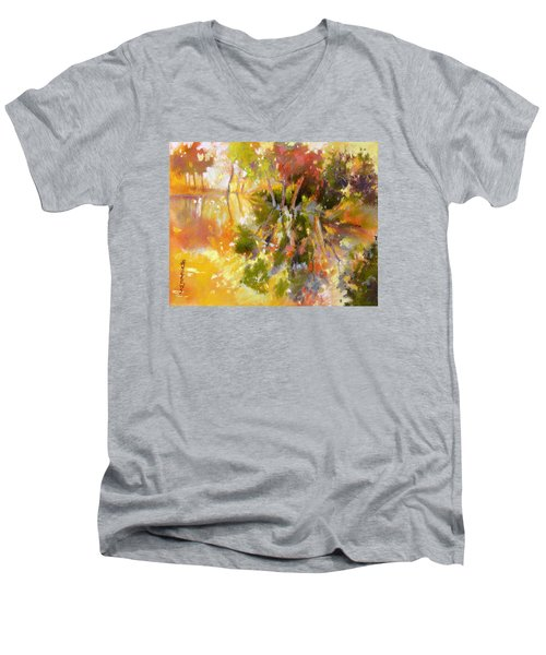Men's V-Neck T-Shirt featuring the painting Glow by Rae Andrews