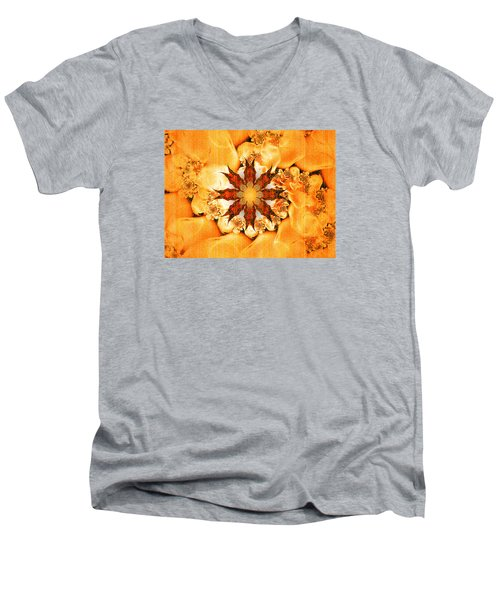 Men's V-Neck T-Shirt featuring the digital art Glow by Richard Ortolano