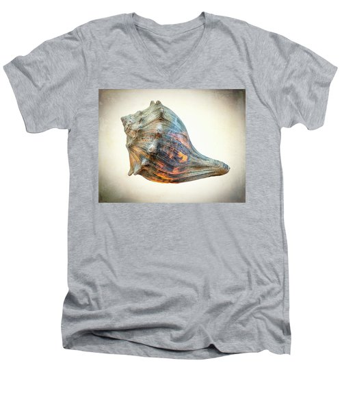 Men's V-Neck T-Shirt featuring the photograph Glowing Conch Shell by Gary Slawsky