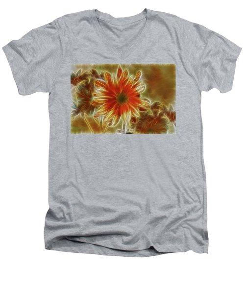 Glowing Flower Men's V-Neck T-Shirt