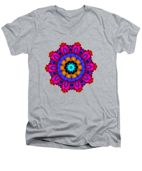 Glowing Fractal Flower Men's V-Neck T-Shirt
