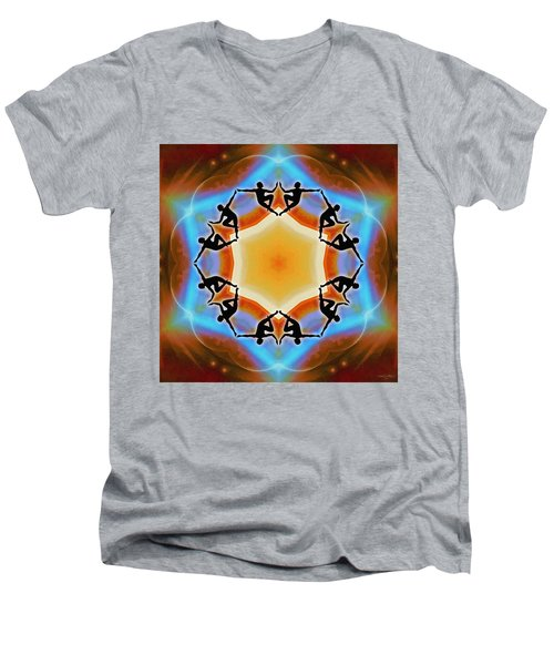Men's V-Neck T-Shirt featuring the digital art Glowing Heartfire by Derek Gedney