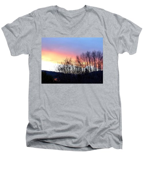 Men's V-Neck T-Shirt featuring the photograph Glowing Kalamalka Lake by Will Borden
