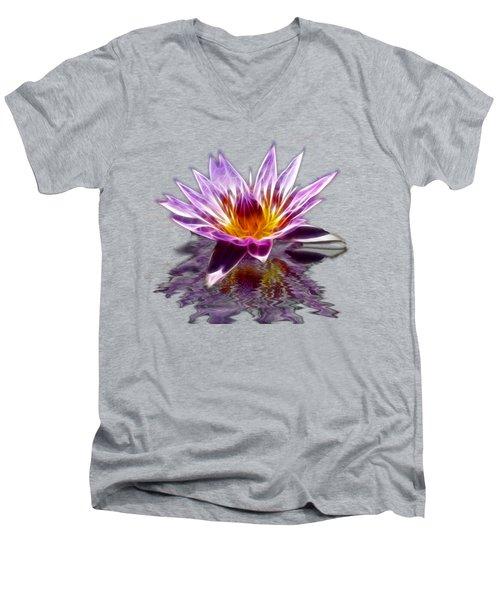 Glowing Lilly Flower Men's V-Neck T-Shirt by Shane Bechler