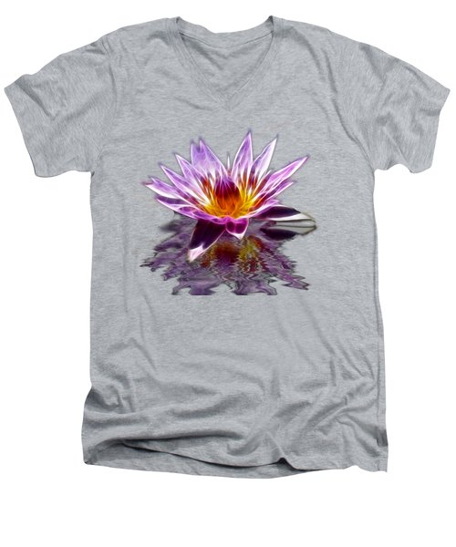 Glowing Lilly Flower Men's V-Neck T-Shirt