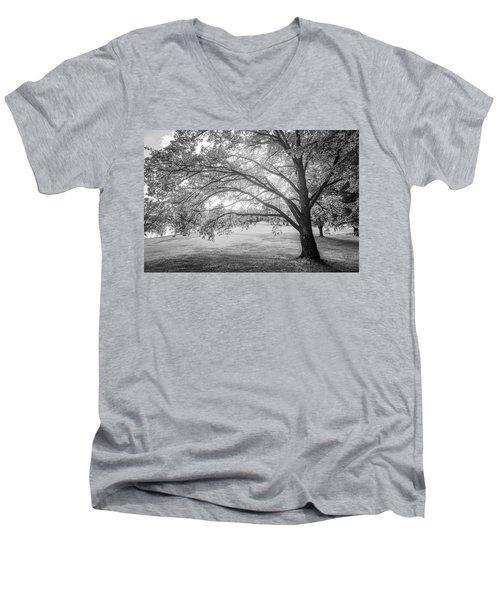 Glowing Tree Men's V-Neck T-Shirt by Teemu Tretjakov