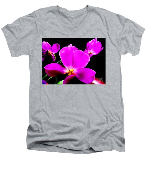 Glowing Tulips Men's V-Neck T-Shirt by Tim Townsend