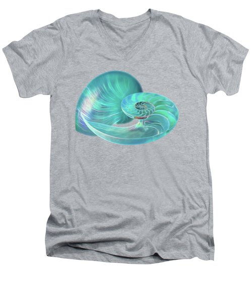 Glowing Turquoise Nautilus Shell Men's V-Neck T-Shirt