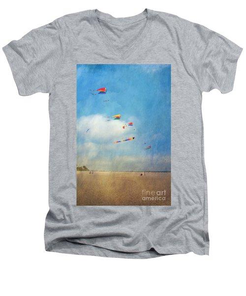 Men's V-Neck T-Shirt featuring the photograph Go Fly A Kite by David Zanzinger