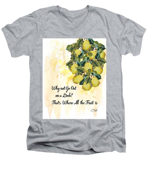 Men's V-Neck T-Shirt featuring the digital art Go Out On A Limb by Colleen Taylor