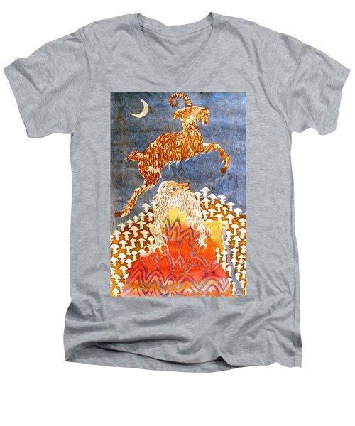 Goat Leaping Over Wood Elf Men's V-Neck T-Shirt