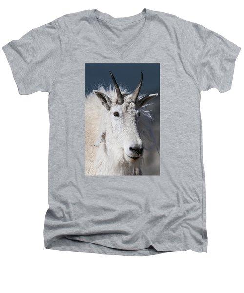 Goat Portrait Men's V-Neck T-Shirt by Gary Lengyel