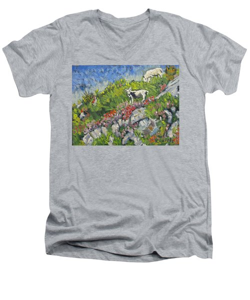 Men's V-Neck T-Shirt featuring the painting Goats On Hill by Michael Daniels