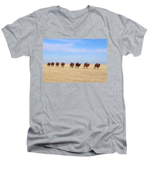 Gobi Camels Men's V-Neck T-Shirt by Diane Height