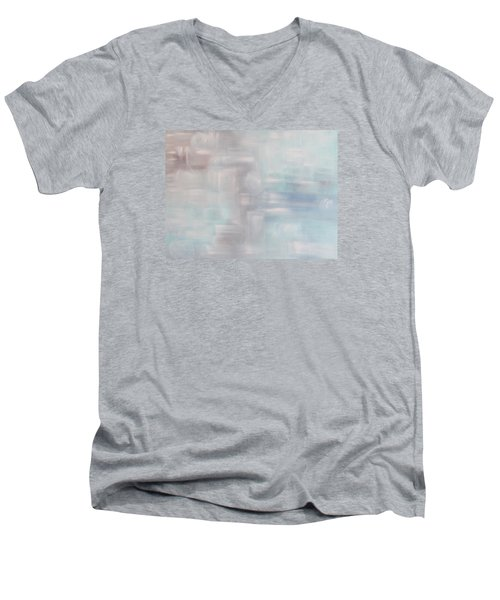 Men's V-Neck T-Shirt featuring the painting Gobi Desert Gale And Oasis by Min Zou