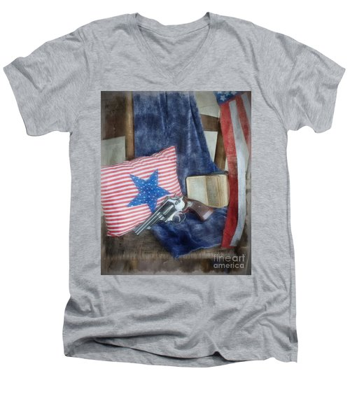 Men's V-Neck T-Shirt featuring the photograph God, Guns And Old Glory by Benanne Stiens