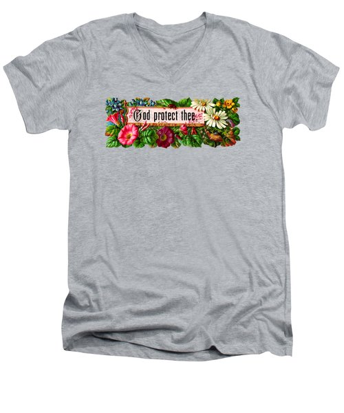 God Protect Thee Vintage Men's V-Neck T-Shirt