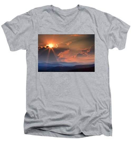 God Rays Over N C  Mountains Men's V-Neck T-Shirt