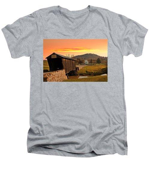 Goddard White Bridge And Church  Men's V-Neck T-Shirt