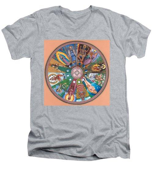 Goddess Wheel Guadalupe Men's V-Neck T-Shirt by James Roderick
