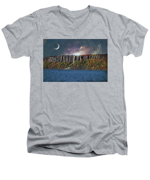God's Space Over Planet Earth Men's V-Neck T-Shirt
