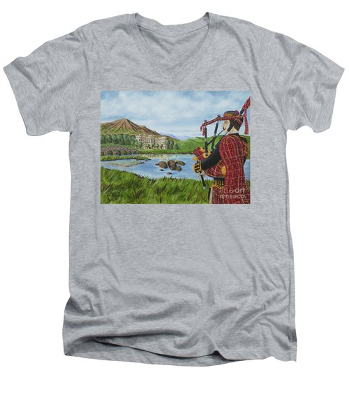 Going Home Men's V-Neck T-Shirt by Val Miller