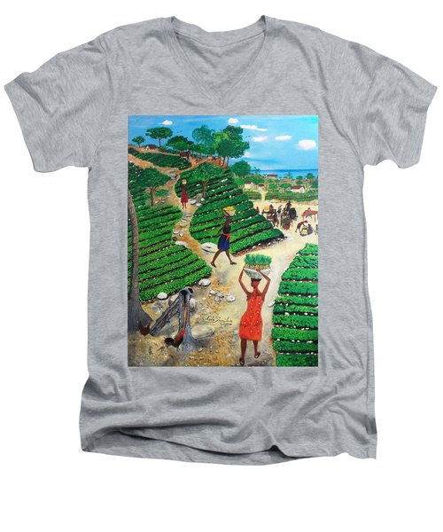 Men's V-Neck T-Shirt featuring the painting Going To The Marketplace #4 -  Walking Through The Terraces by Nicole Jean-Louis