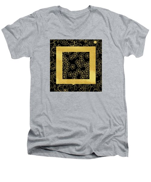 Gold And Black Men's V-Neck T-Shirt