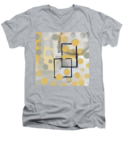 Gold And Grey Abstract Men's V-Neck T-Shirt
