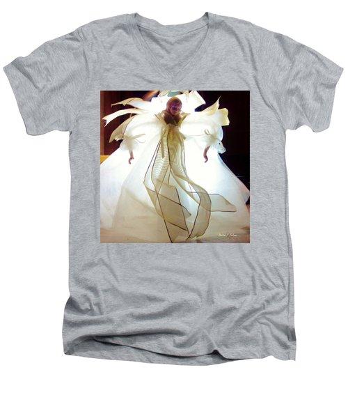 Gold And White Angel Men's V-Neck T-Shirt