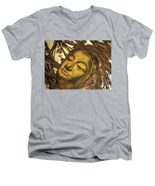 Men's V-Neck T-Shirt featuring the painting Gold Buddha Head by Chonkhet Phanwichien