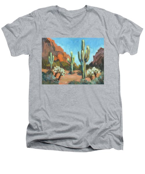 Men's V-Neck T-Shirt featuring the painting Gold Canyon by Diane McClary