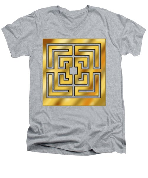 Men's V-Neck T-Shirt featuring the digital art Gold Geo 3 - Chuck Staley by Chuck Staley