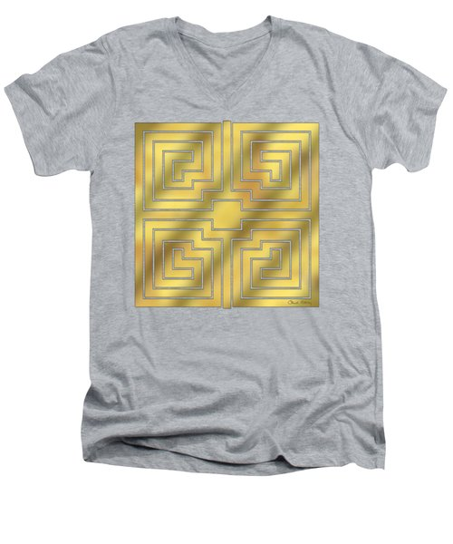 Men's V-Neck T-Shirt featuring the digital art Gold Geo 4 - Chuck Staley Design  by Chuck Staley