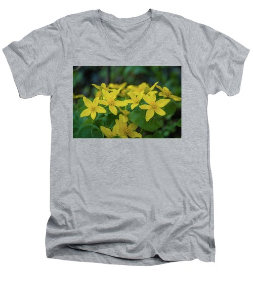 Men's V-Neck T-Shirt featuring the photograph Gold In The Marsh by Bill Pevlor