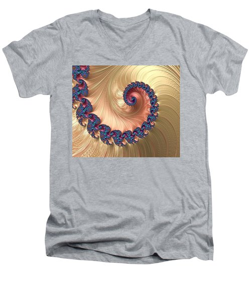 Gold Spiral With Passion Abstract Men's V-Neck T-Shirt