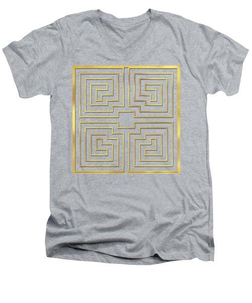 Gold Stripes Transparent Men's V-Neck T-Shirt