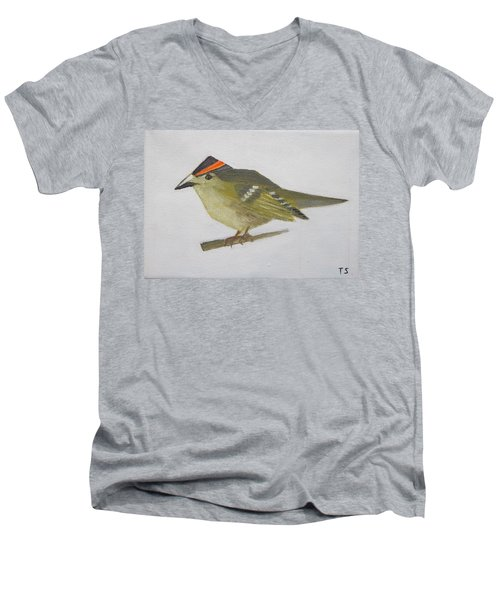 Goldcrest Men's V-Neck T-Shirt by Tamara Savchenko