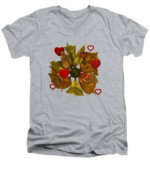Golde Flower With Love Men's V-Neck T-Shirt